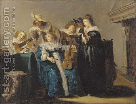 An elegant company making music in an interior by (after) Dirck Hals - Reproduction Oil Painting