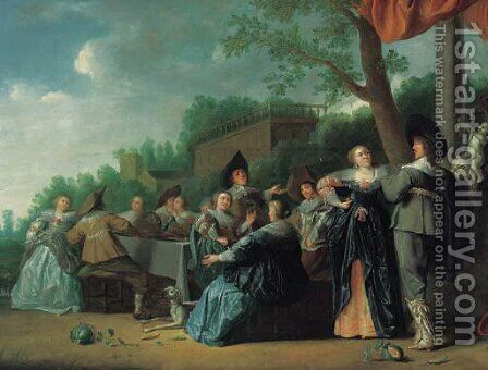Elegant company feasting in an ornamental garden, a palace beyond by (after) Dirck Hals - Reproduction Oil Painting