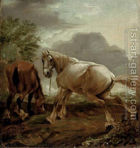 Two horses in a landscape by (after) Dirck Willemsz. Stoop - Reproduction Oil Painting