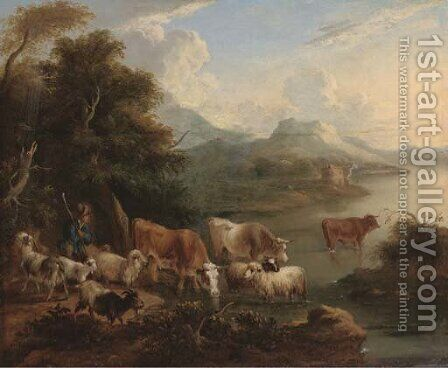 A river landscape with a shepherd, his flock and other cattle on the bank by (after) Dirck Van Bergen - Reproduction Oil Painting