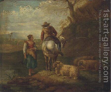 An Italianate river landscape with a shepherd and shepherdess and their flock by (after) Dirck Van Bergen - Reproduction Oil Painting