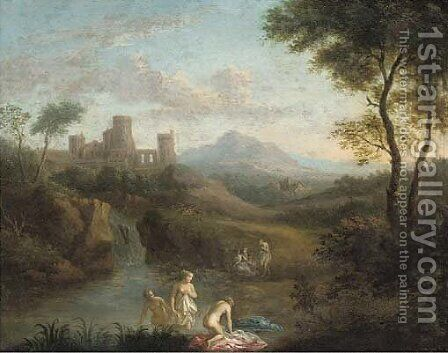 An Italianate landscape with nymphs bathing at a pool by (after) Dirck Van Der B Lisse - Reproduction Oil Painting