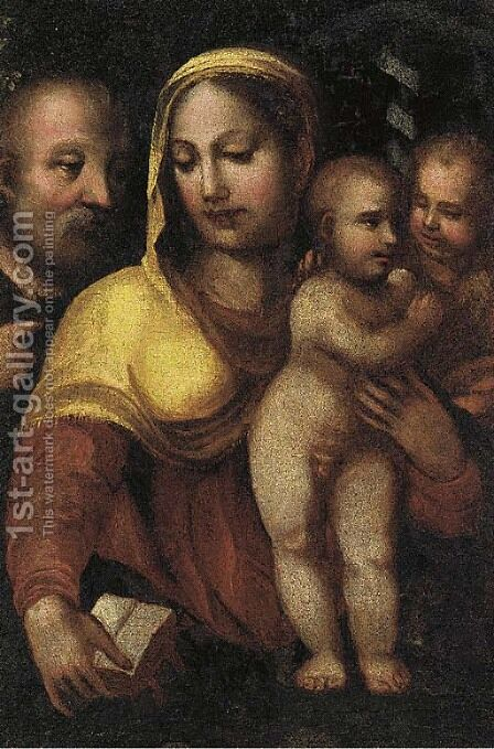 The Holy Family with Saint John the Baptist by (after) Domenico Di Pace Beccafumi - Reproduction Oil Painting