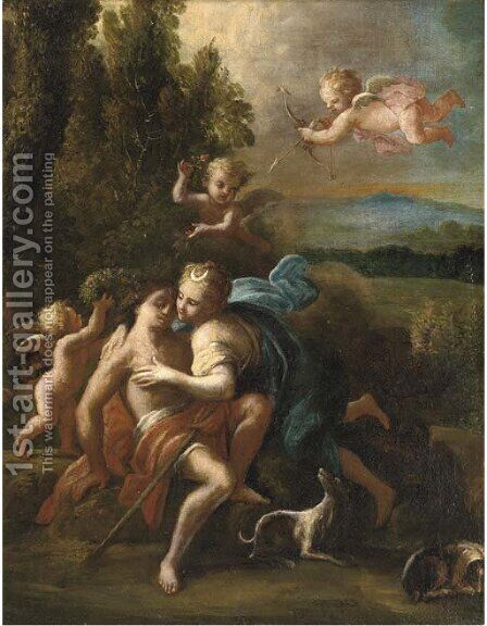 Diana and Endymion by (after) Domenico Piola - Reproduction Oil Painting