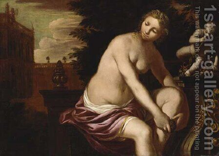 The bath of Bathsheba by (after) Domenico Tintoretto (Robusti) - Reproduction Oil Painting