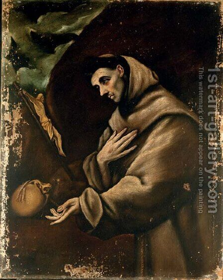 Saint Francis in prayer by (after) El Greco (Domenikos Theotokopoulos) - Reproduction Oil Painting