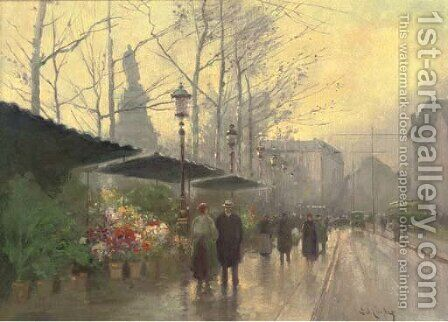 A Parisian flower market by (after) Edouard Leon Cortes - Reproduction Oil Painting