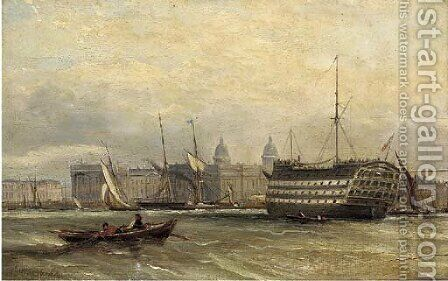 A three-decker lying on the Thames before Greenwich by (after) Edward William Cooke - Reproduction Oil Painting
