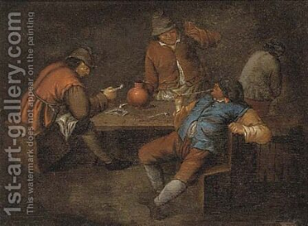 Boors smoking and drinking in a tavern by (after) Egbert Van, The Younger Heemskerck - Reproduction Oil Painting