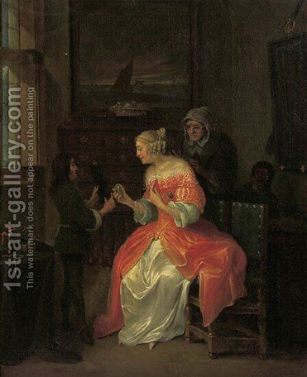 A page presenting a portrait miniature to an elegant lady in an interior by (after) Eglon Van Der Neer - Reproduction Oil Painting