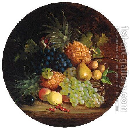 Grapes, Pears, Apples, Redcurrants And Pineapples In A Wicker Basket, On A Table by (after) Eloise Harriet Stannard - Reproduction Oil Painting
