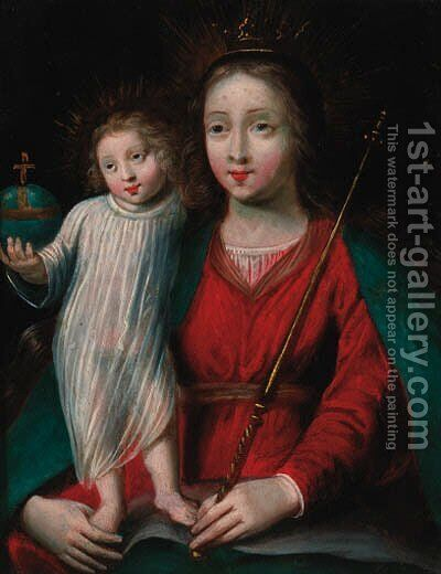 The Madonna and Child by (after) Erasmus II Quellin (Quellinus) - Reproduction Oil Painting