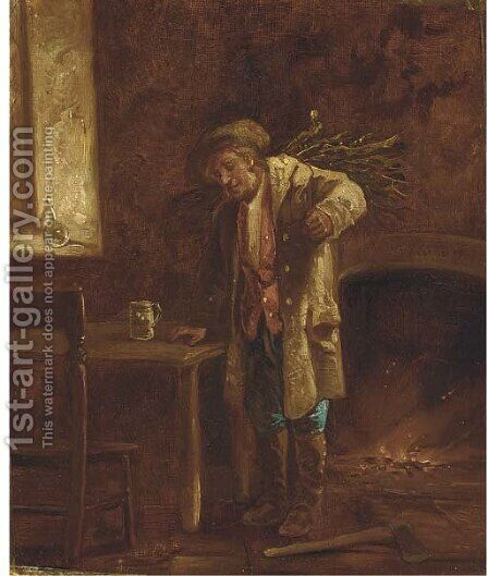 Wood for the fire by (after) Erskine Nicol - Reproduction Oil Painting