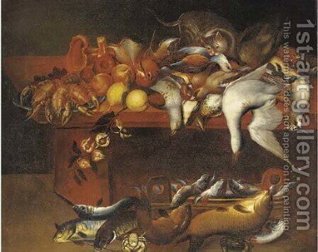 Dead game birds, fish, lobster, fruit and flowers with a cat on a table by (after) Felice Boselli - Reproduction Oil Painting