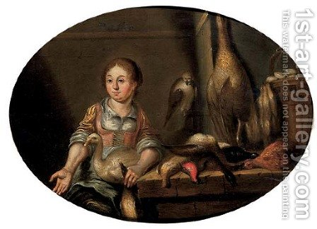 A maid in a kitchen, seated by a table laden with dead game by (after) Floris Gerritsz. Van Schooten - Reproduction Oil Painting