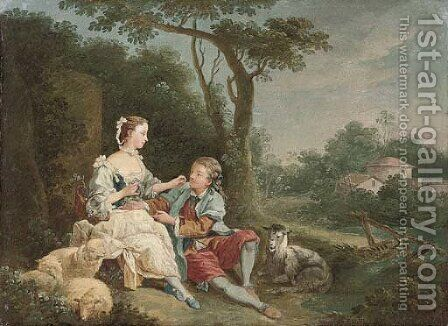 A wooded river landscape with a swain courting a shepherdess by (after) Francois Boucher - Reproduction Oil Painting