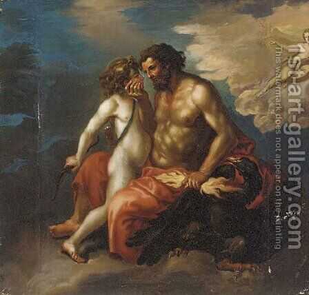 Jupiter and Ganymede by (after) Francesco Albani - Reproduction Oil Painting