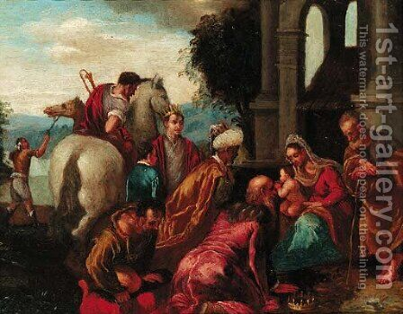 The Adoration of the Magi by (after) Francesco, II Bassano - Reproduction Oil Painting