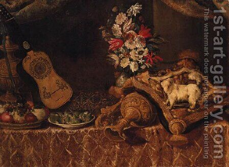 A dog on a cushion with an upturned ornamental gilt jug by (after) Francesco (Il Maltese) Fieravino - Reproduction Oil Painting