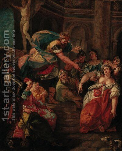 Esher swooning before Ahasuerus by (after) Francesco Fontebasso - Reproduction Oil Painting