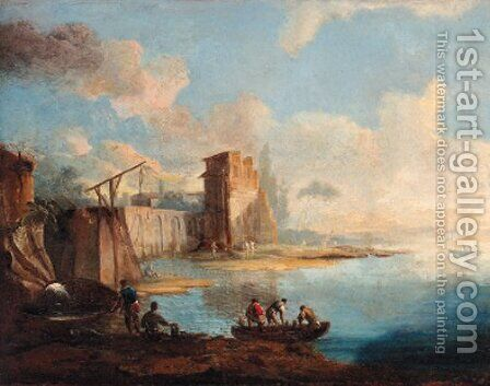 A capriccio view of a Venetian lagoon by (after) Francesco Guardi - Reproduction Oil Painting