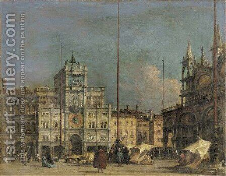 The Piazza San Marco, Venice, looking north towards the Torre dell'Orologio by (after) Francesco Guardi - Reproduction Oil Painting