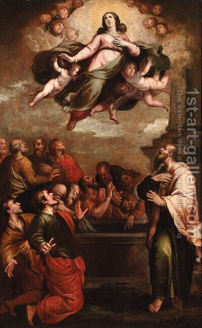 The Assumption of the Virgin by (after) Francesco Maffei - Reproduction Oil Painting