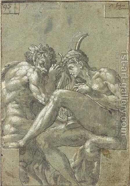 Apollo and Pan by (after) Francesco Primaticcio - Reproduction Oil Painting