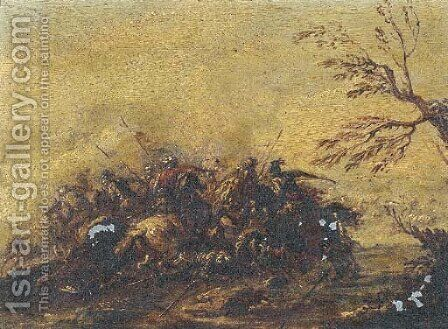 A calvary skirmish by (after) Francesco Simonini - Reproduction Oil Painting