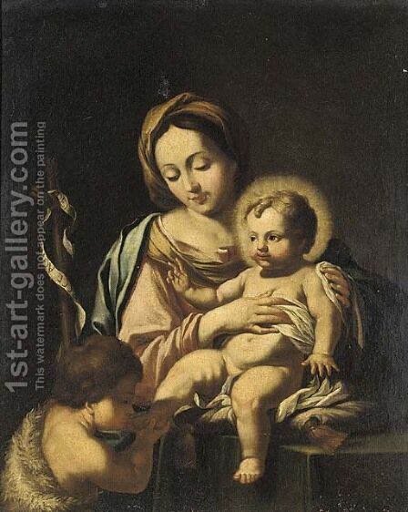 The Madonna and Child with Saint John the Baptist by (after) Francesco Solimena - Reproduction Oil Painting