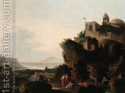 An Italianate coastal landscape with peasants before a fortified hilltop castle by (after) Francesco Zuccarelli - Reproduction Oil Painting