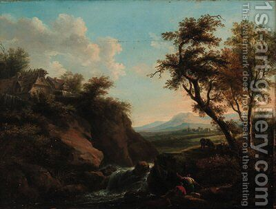 Figures in a rocky river landscape with a town beyond by (after) Francesco Zuccarelli - Reproduction Oil Painting