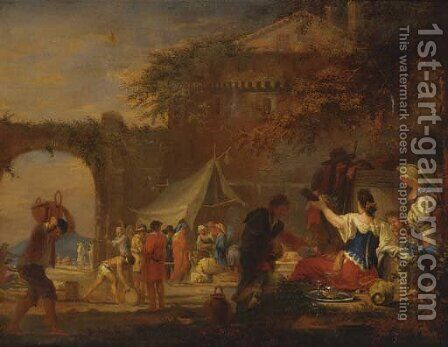 Revellers at a fair by (after) Francesco Zuccarelli - Reproduction Oil Painting