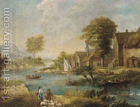 A river landscape with fishermen and shepherds by a village by (after) Francesco Zuccarelli - Reproduction Oil Painting