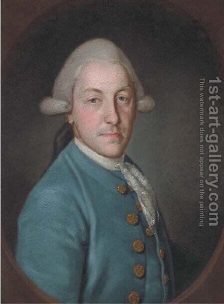 Portrait of a gentleman, bust-length, in a blue coat and lace cravat by (after) Francis Cotes - Reproduction Oil Painting