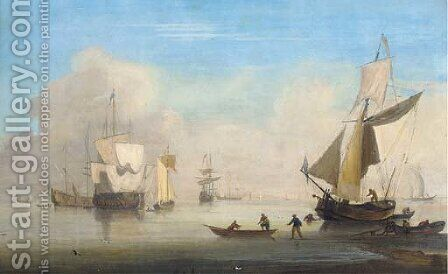 Warships and their ancilliary craft in the fleet anchorage by (after) Francis Swaine - Reproduction Oil Painting