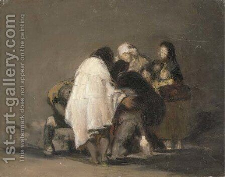 A figure group by (after) Francisco De Goya Y Lucientes - Reproduction Oil Painting