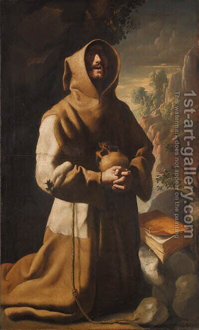 The Ecstasy of Saint Francis by (after)  Francisco De Zurbaran - Reproduction Oil Painting