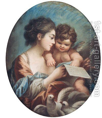 A young Woman with a Cupid in her Arm's holding a Letter by (after) Francois Boucher - Reproduction Oil Painting