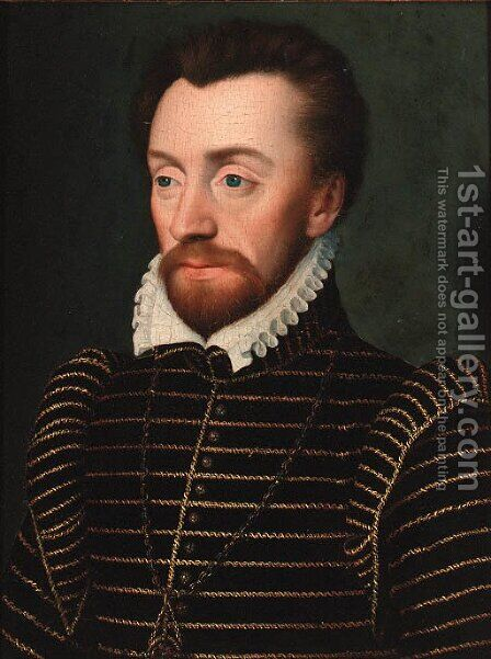 Portrait of Louis I de Bourbon, Prince de Conde (1530-1569), bust-length, in a gold-embroidered doublet by (after) Clouet, Francois - Reproduction Oil Painting