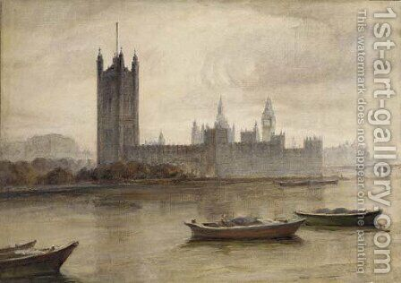 The Houses of Parliament from the South Bank by (after) Frank Wasley - Reproduction Oil Painting