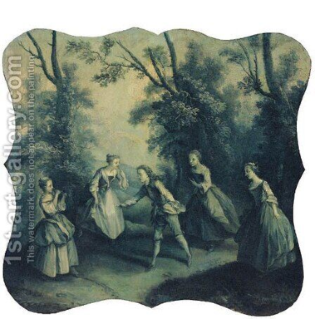 A game of catch in a glade by (after) Francois Boucher - Reproduction Oil Painting