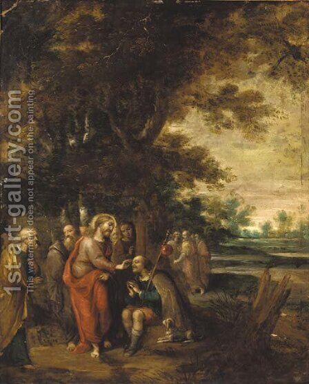 Christ healing the blind man by (after) Frans II Francken - Reproduction Oil Painting