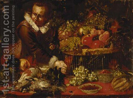 A youth with a basket of grapes by (after) Frans Synders - Reproduction Oil Painting
