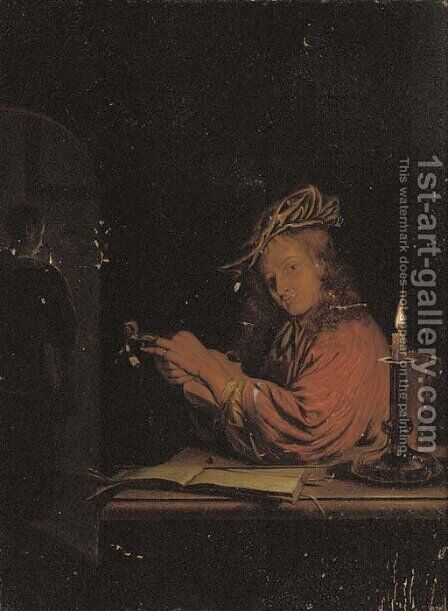 A man stringing a fiddle at a desk, a woman at an archway behind by (after) Frans Van Mieris - Reproduction Oil Painting