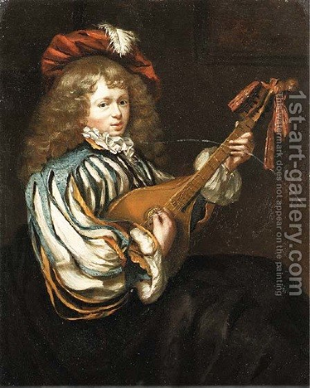 A young boy in a feathered red cap playing the mandolin by (after) Frans Van Mieris - Reproduction Oil Painting