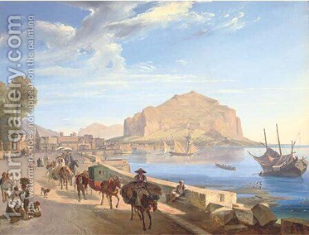 Tourists on the harbour front in Palermo, Monte Pellegrino beyond by (after) Franz Ludwig Catel - Reproduction Oil Painting