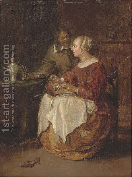 A lady sewing with a gentleman in an interior by (after) Gabriel Metsu - Reproduction Oil Painting