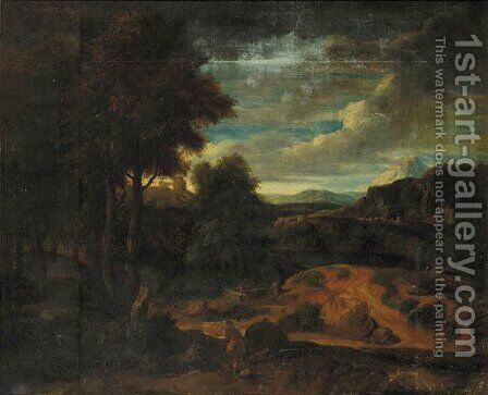 An Italianate landscape at sunset with shepherds in the foreground by (after) Gaspard Dughet - Reproduction Oil Painting