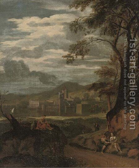 A river landscape with a flute player and other figures resting, a town beyond by (after) Gaspard Dughet - Reproduction Oil Painting